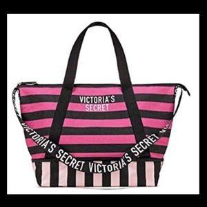 Victoria's Secret striped weekender tote bag